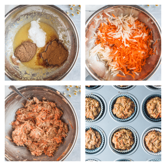 step by step illustration for apple carrot muffins
