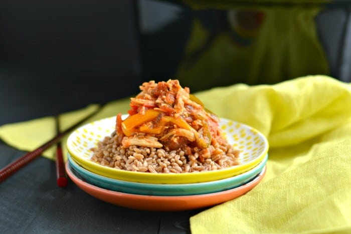 This Crockpot Italian Chicken and Peppers is a healthy and delicious dinner that's super easy and customizable. It's gluten free, low calorie and has a Paleo option too. A weeknight dinner recipe the whole family will love!
