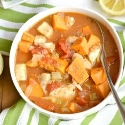Manhattan Cod Chowder {GF, Low Cal, Paleo}