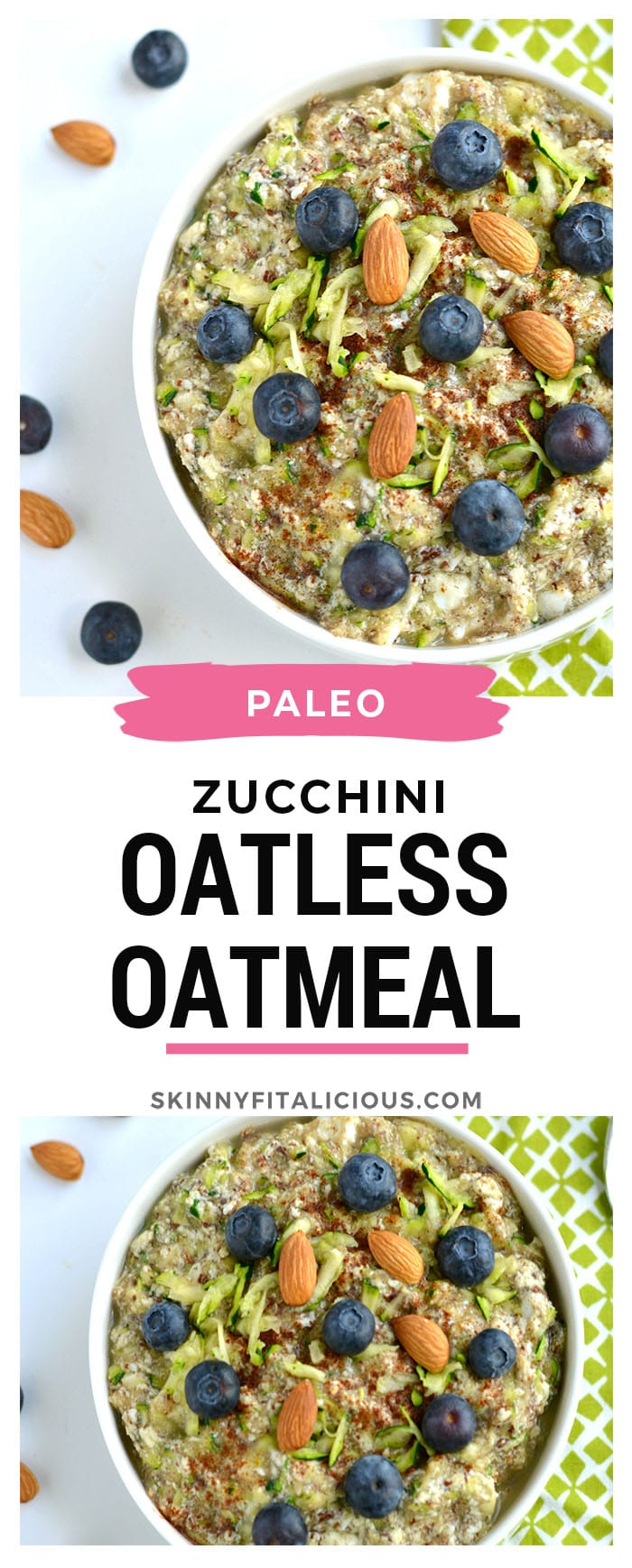 Zucchini Oatless Oatmeal is a Paleo twist on a classic bowl of morning oatmeal. Made with eggs, almond milk, zucchini, applesauce, flaxseed and cinnamon, this simple bowl of goodness is packed with protein and fiber. A nutritious way to stay full all morning! Gluten Free + Paleo + Low Calorie