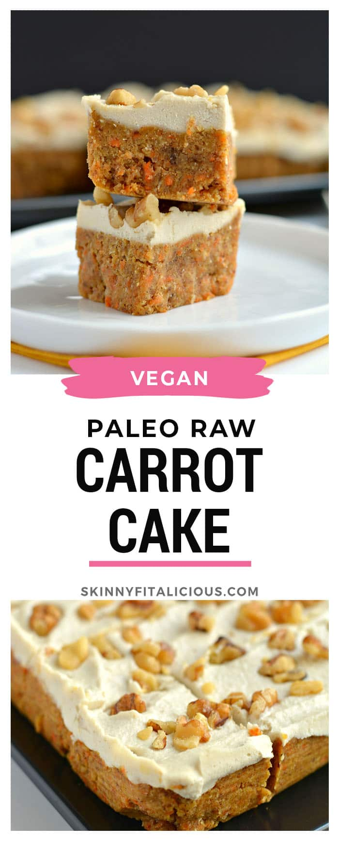 Paleo Raw Carrot Cake is a spin on a traditional favorite! Made with a carrot, date and walnut base, this delicious cake is topped with a silky cashew maple coconut icing that's surprisingly healthy and good for you. This is what carrot cake dreams are made of!  Paleo + Gluten Free + Vegan + Low Calorie