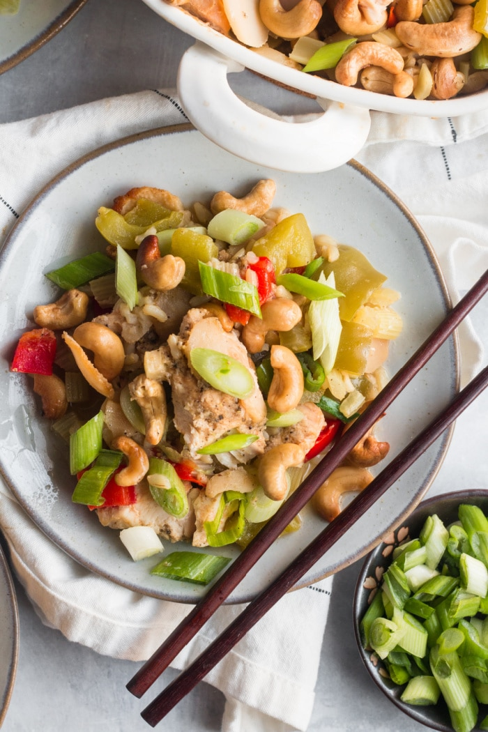 Cashew Chicken Bake is a simple, low calorie casserole dinner packed with protein and vegetables. A hearty gluten free meal that's filling and the whole family will love!