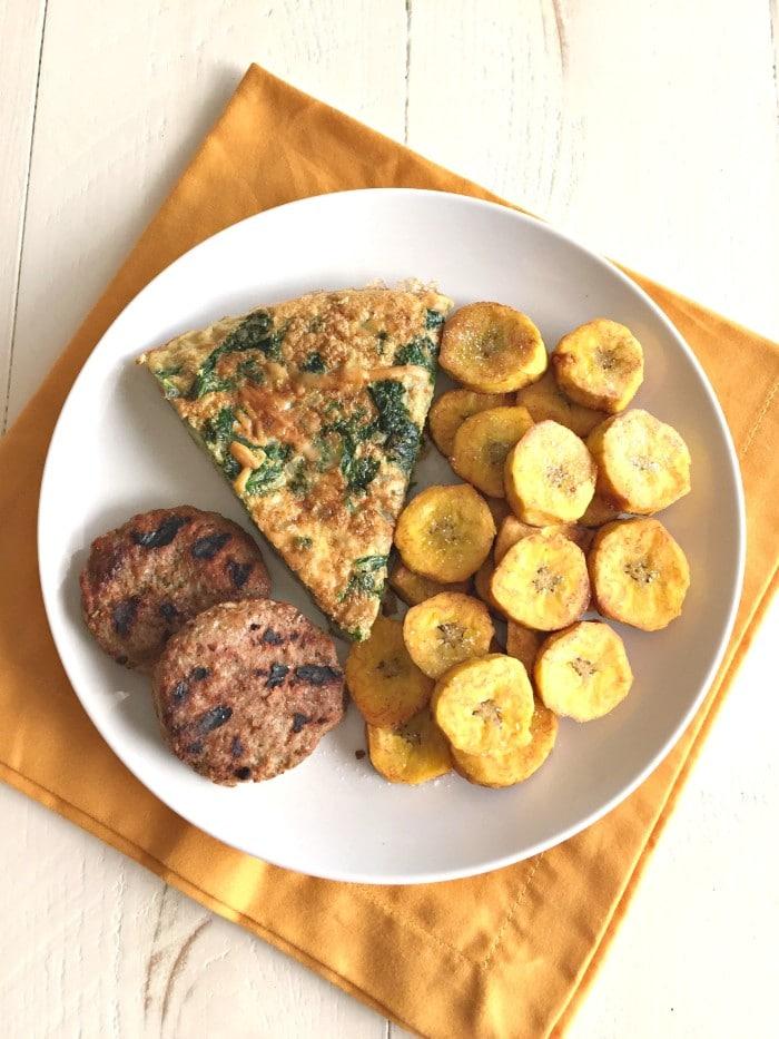Cauliflower Kale Frittata & Plantains