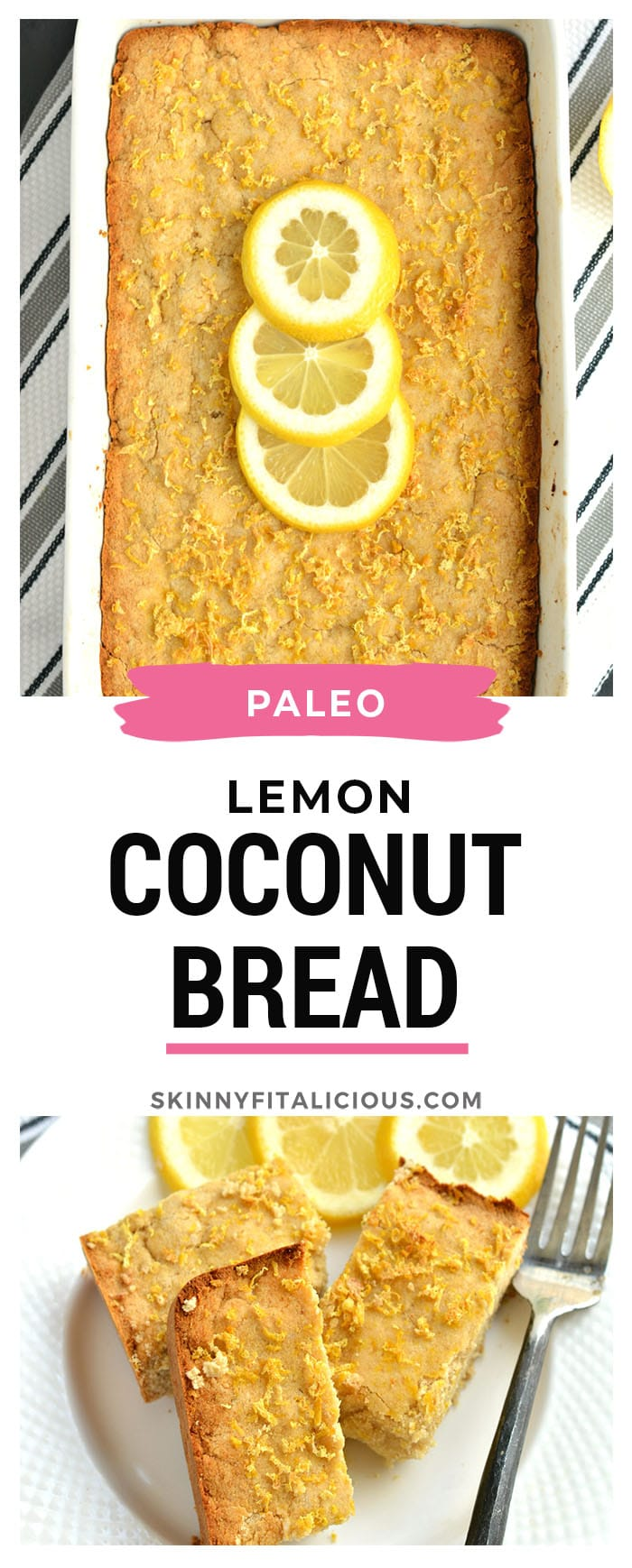 A luscious Paleo Coconut Lemon Cake that's thick and bursting with lemon! Made with coconut flour and topped with crispy baked lemon zest, this cake makes an excellent low-carb, gluten-free, calorie friendly snack! Paleo + Gluten Free + Low Calorie