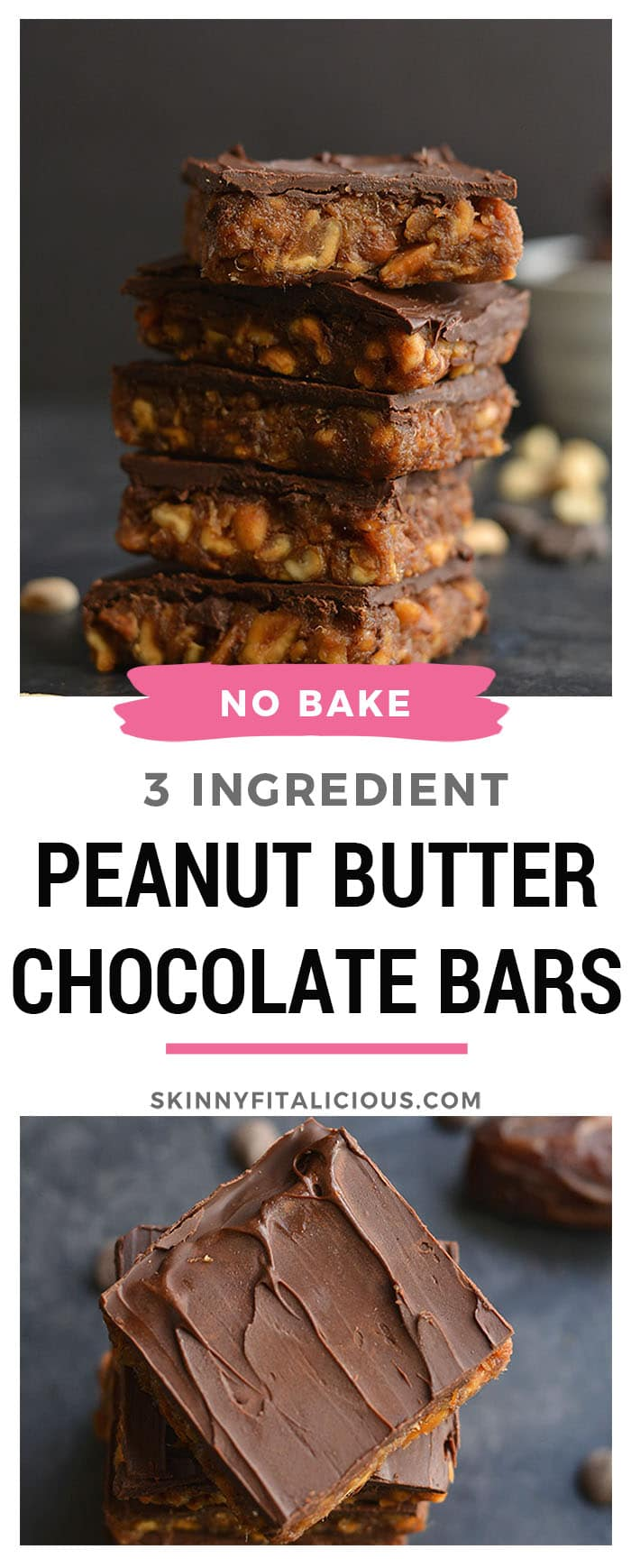 3 Ingredient Peanut Butter Chocolate Chip Bars! They taste like candy, but are secretly good for you! Sweetened with dates, these simple no bake bars easy to make and kid friendly. Vegan, Gluten Free + Paleo Option