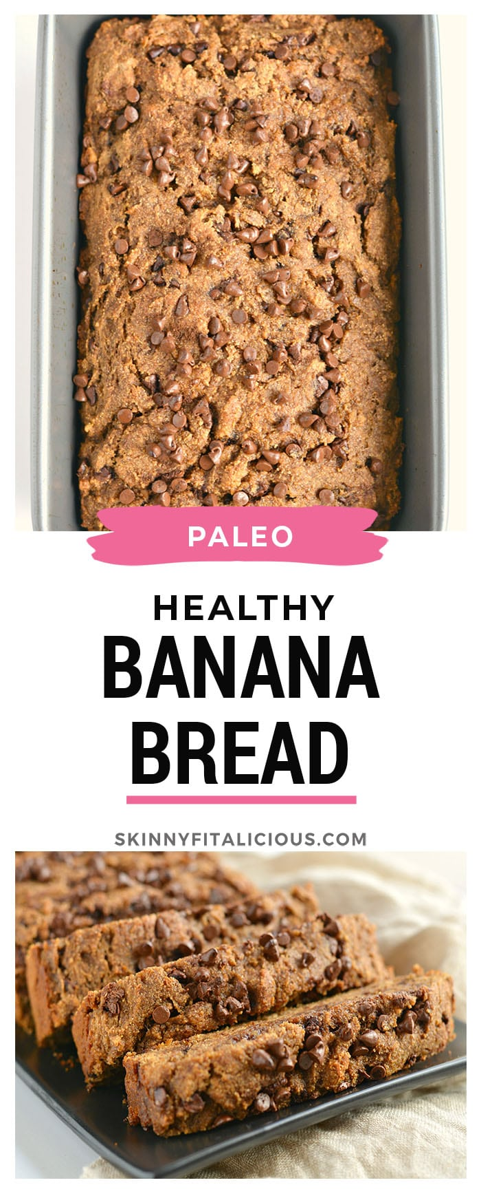 This Ultimate Healthy Chocolate Chip Banana Bread is a chocolate lovers dream! Made with wholesome ingredients and with zero added sugar or oil, this gluten and dairy free banana bread is the ultimate sweet treat! Gluten Free + Low Calorie