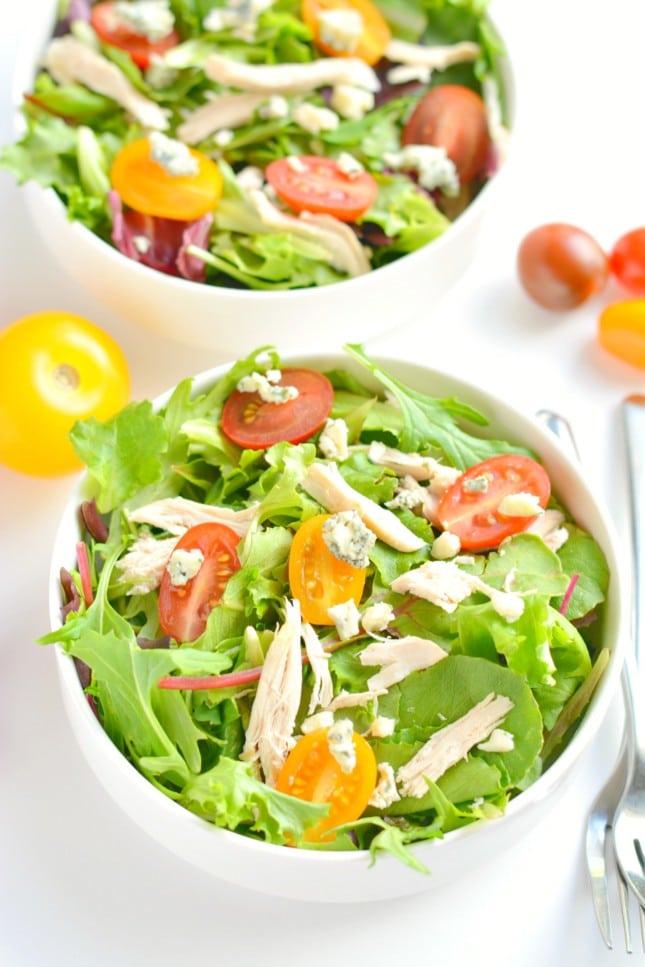 chicken gorgonzola salad skinny fitalicious