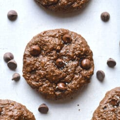 Chocolate Cottage Cheese Cookies are low calorie, rich and fudgy! These mouthwatering cookies are unsuspectingly delicious, gluten free and healthy. A high protein cookie that is balanced in nutrition. Gluten Free + Low Calorie