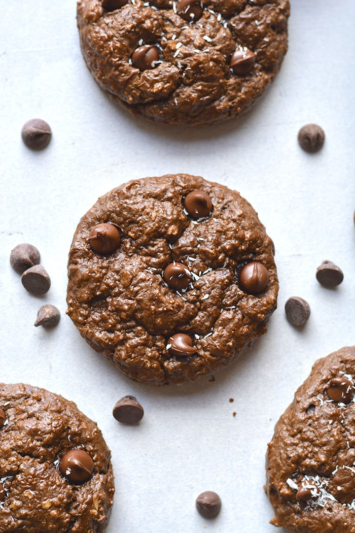 Chocolate Cottage Cheese Cookies are low calorie, rich and fudgy! These mouthwatering cookies are unsuspectingly delicious, gluten free and healthy. A high protein cookie that is balanced in nutrition.Gluten Free + Low Calorie