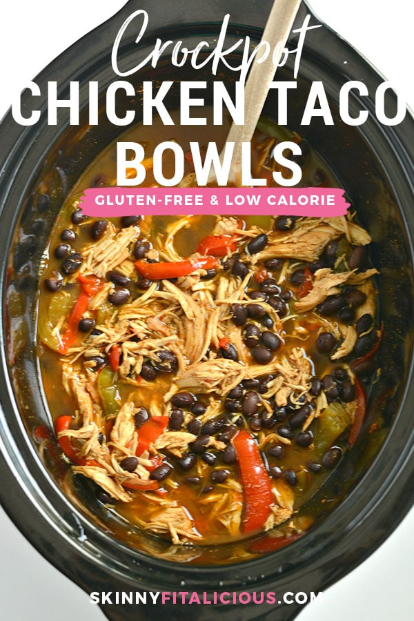 Make taco night easy night with these Crockpot Chicken Taco Bowls! Made naturally gluten free with homemade low sodium taco seasoning and layered with fresh vegetables, this low calorie dinner is one everyone will love especially the cook! Gluten Free + Low Calorie