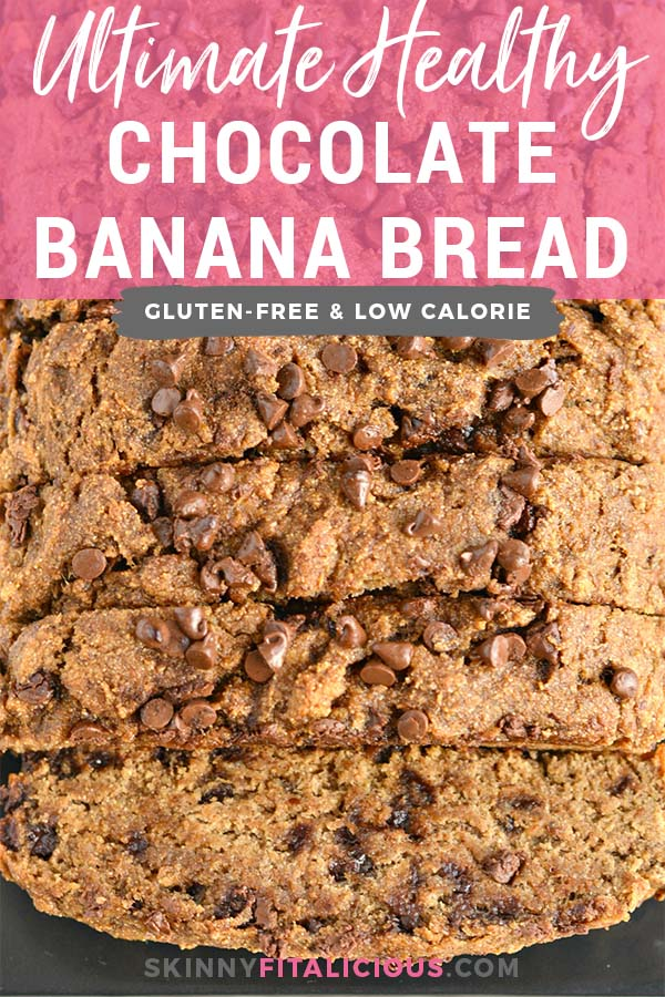 This Ultimate Healthy Chocolate Chip Banana Bread is a chocolate lovers dream!Made with wholesome ingredients and withzeroadded sugar or oil, this gluten and dairy free banana bread is the ultimate sweet treat! Gluten Free + Low Calorie