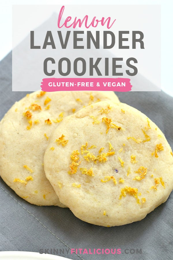 Healthy Lemon Lavender Cookies are shortbread cookies with a refreshingly light taste. Packed with citrus and lightly sweetened, these Vegan and gluten free cookies are refreshing and subtly sweet. Great for healthy snacking or serving as a dessert. Low calorie only 140 calories each!