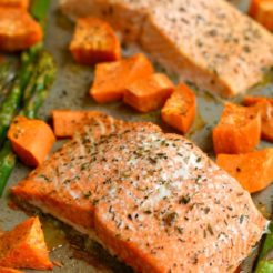 One Pan Baked Salmon Asparagus Sweet Potato