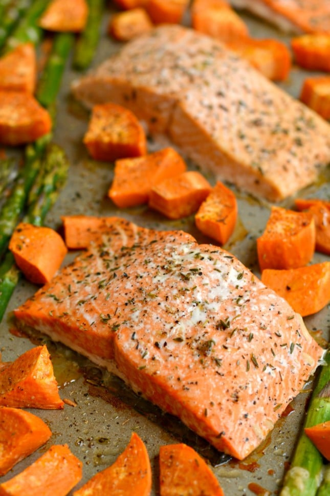 One Pan Baked Salmon Asparagus Sweet Potato