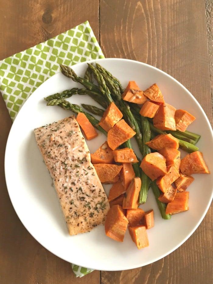 Salmon Asparagus Sweet Potatoes