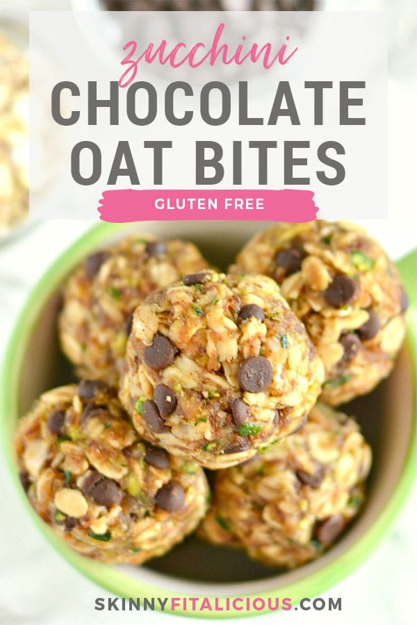 Zucchini Chocolate Oatmeal Bites make a surprising homemade snack and only 100 calories! Made with shredded zucchini, oats and nut butter, these no-bake gluten free, low calorie bites will soon be your new easy go-to summer snack! Gluten Free + Low Calorie