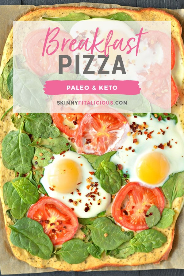 Wake up to Paleo Breakfast Pizza! Made with a simple coconut egg crust and topped with fresh veggies and cracked eggs, this is a perfect, easy meal for any time of day! Paleo + Gluten Free + Keto