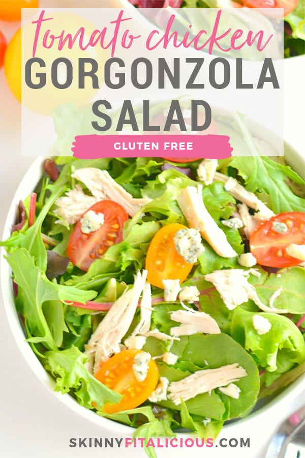 A light & vibrant Tomato Chicken Gorgonzola Salad! An easy gluten free recipe you can prep ahead of time and assemble during the week on the go. Paired with a creamy gorgonzola dressing, this flavorful salad is one you can enjoy all summer long! Gluten Free + Low Calorie