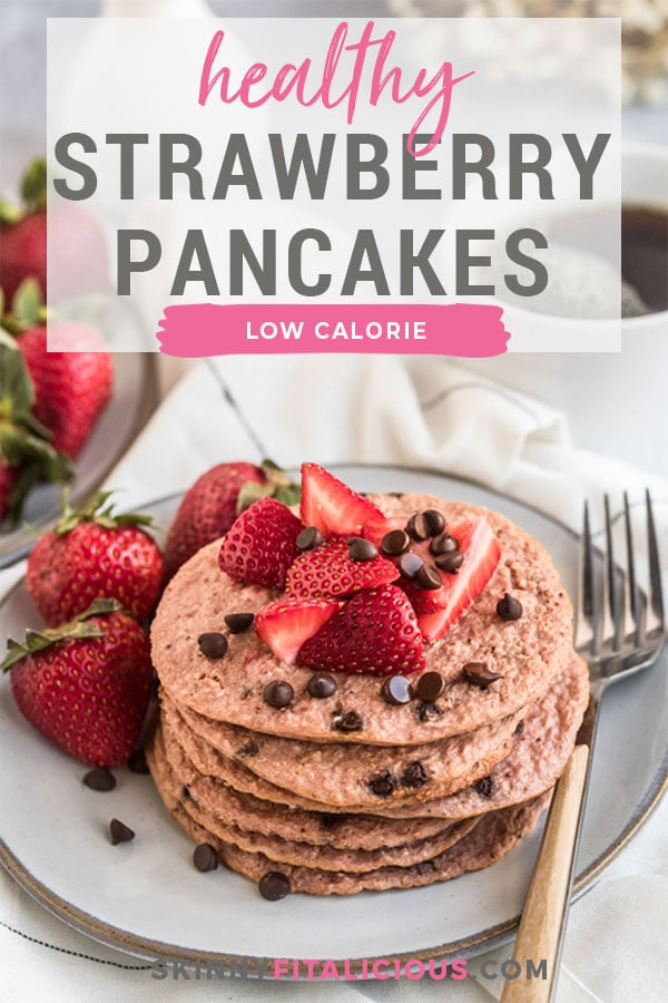 Healthy Strawberry Oat Chocolate Chip Pancakes made low calorie with gluten free oats, Greek yogurt, sweet strawberries with chunks of chocolate nestled in the batter.