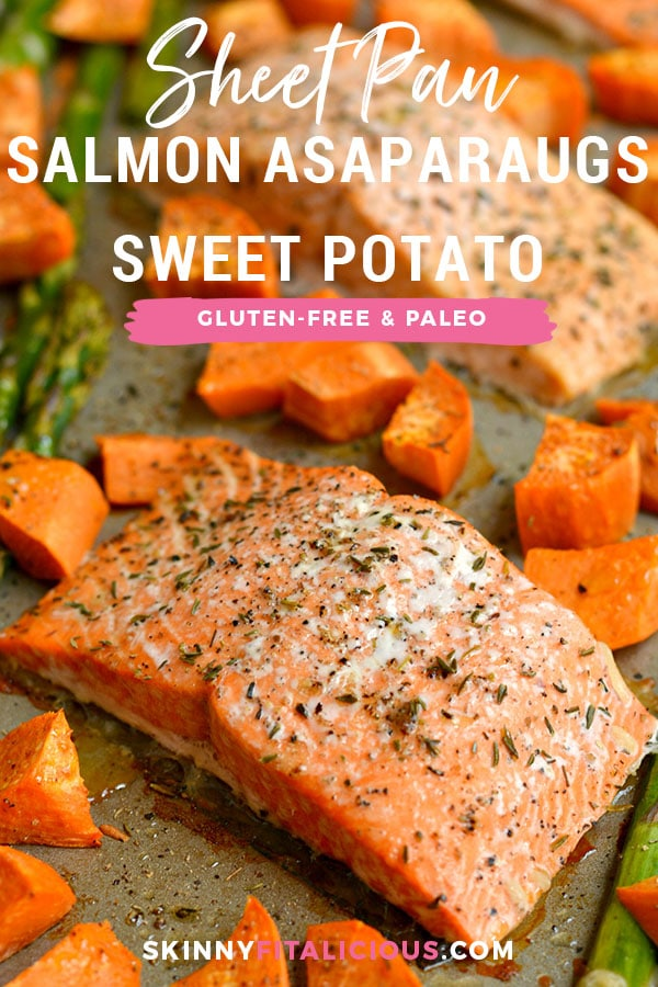 This One Pan Baked Salmon Asparagus & Sweet Potato is perfectly baked on a single pan for an EASY and filling dinner. A Paleo, Gluten Free & Low Calorie meal that takes just 30 minutes, ideal for any night!