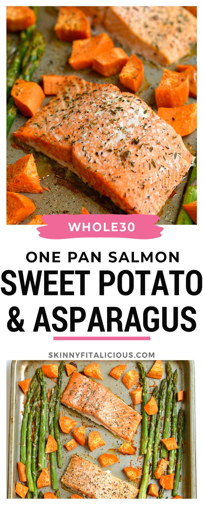 This One Pan Baked Salmon Asparagus & Sweet Potato is perfectly baked on a single pan for an EASY and filling dinner. A Whole30, Paleo, Gluten Free & Low Calorie meal that takes just 30 minutes, ideal for any night!