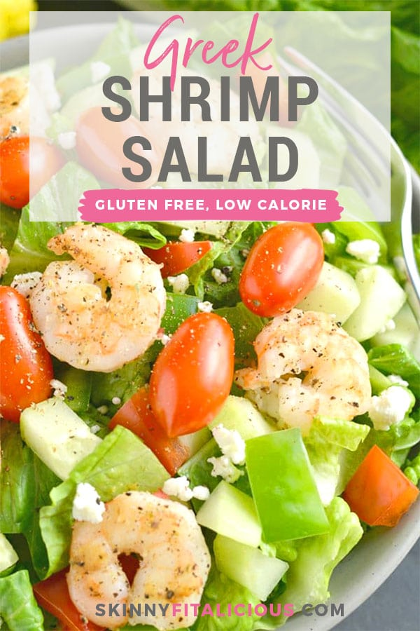This Greek Shrimp Salad is a light, refreshing and EASY meal. Loaded with a secret blend of spices, freshly chopped vegetables and grilled shrimp, this healthy meal is equally delicious and filling! Gluten Free + Low Calorie