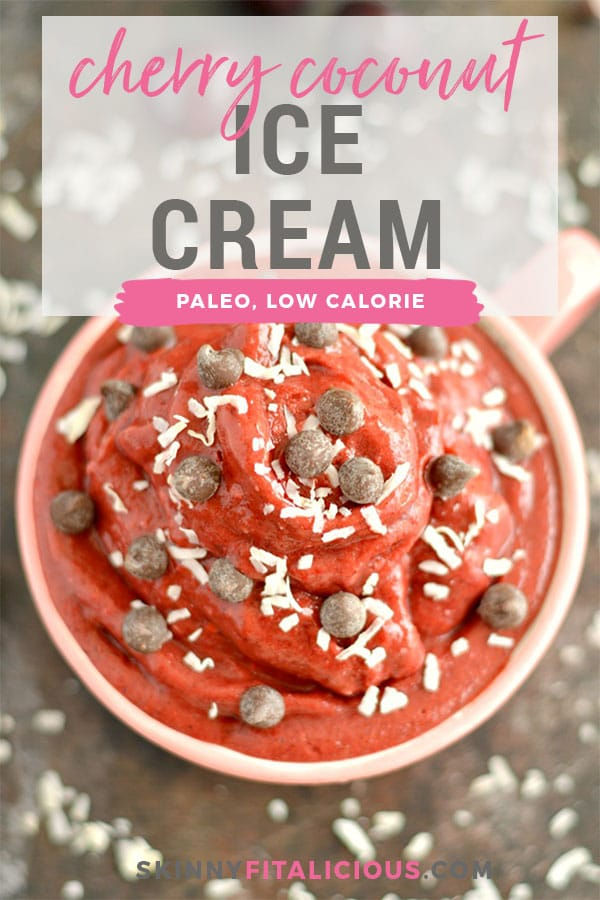 Chocolate Cherry Coconut Ice Cream is a simple & healthy 3-ingredient freezer snack that takes less than 5 minutes to make in a blender. A creamy & delicious dairy-free, gluten-free, Vegan & Paleo friendly treat!