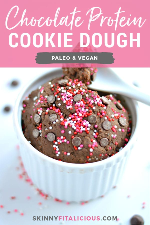Chocolate Protein Cookie Dough made with 3 simple & healthy ingredients. A quick no-bake snack that's Vegan, Paleo, gluten free, dairy-free and crazy delicious! Gluten Free + Paleo + Vegan