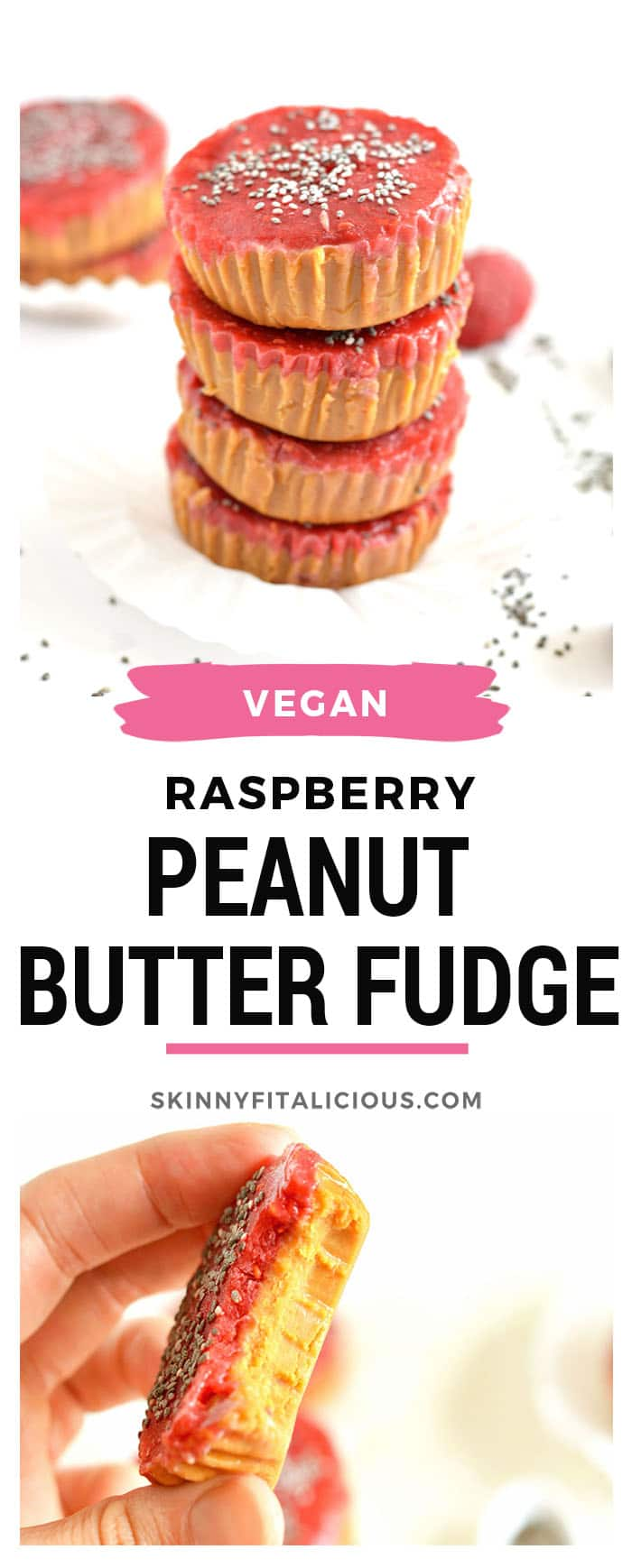 With just 3-ingredientsthisno-bake, quick and easy Raspberry Peanut Butter Fudge will be your new healthy dessert! Store in the freezer for an insanely delicious gluten free, Vegan anytime treat with a Paleo option too.