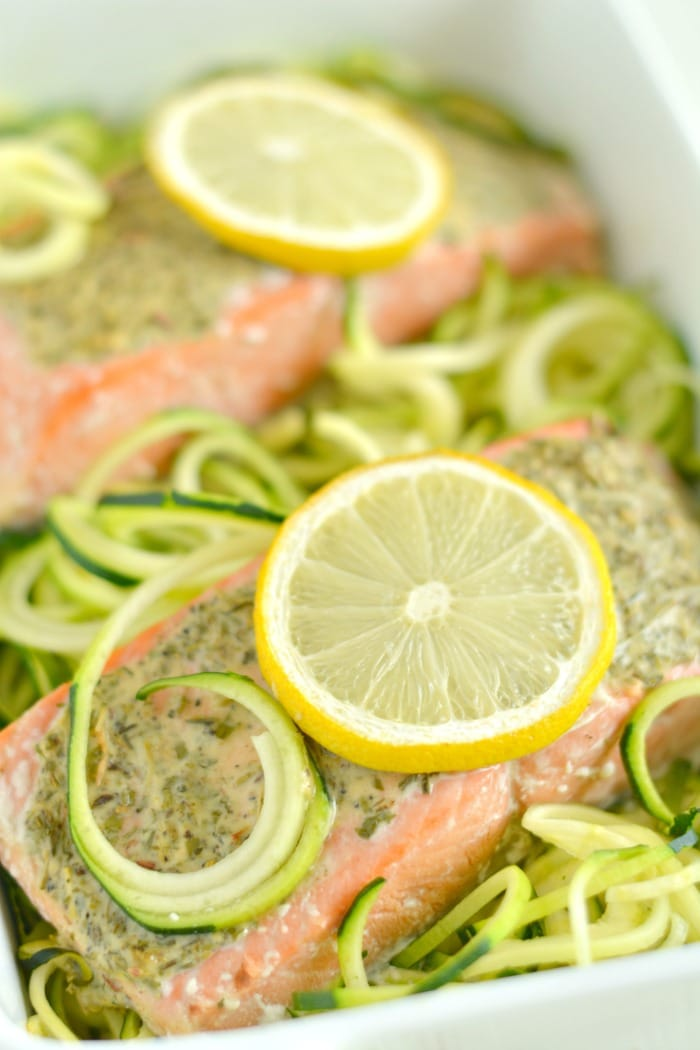 Lemon Herb Salmon Zucchini is a quick one pan meal packed with protein and tons of flavor. A 30 minute weeknight dinner that's low carb, low calorie, gluten free, dairy free and Paleo!