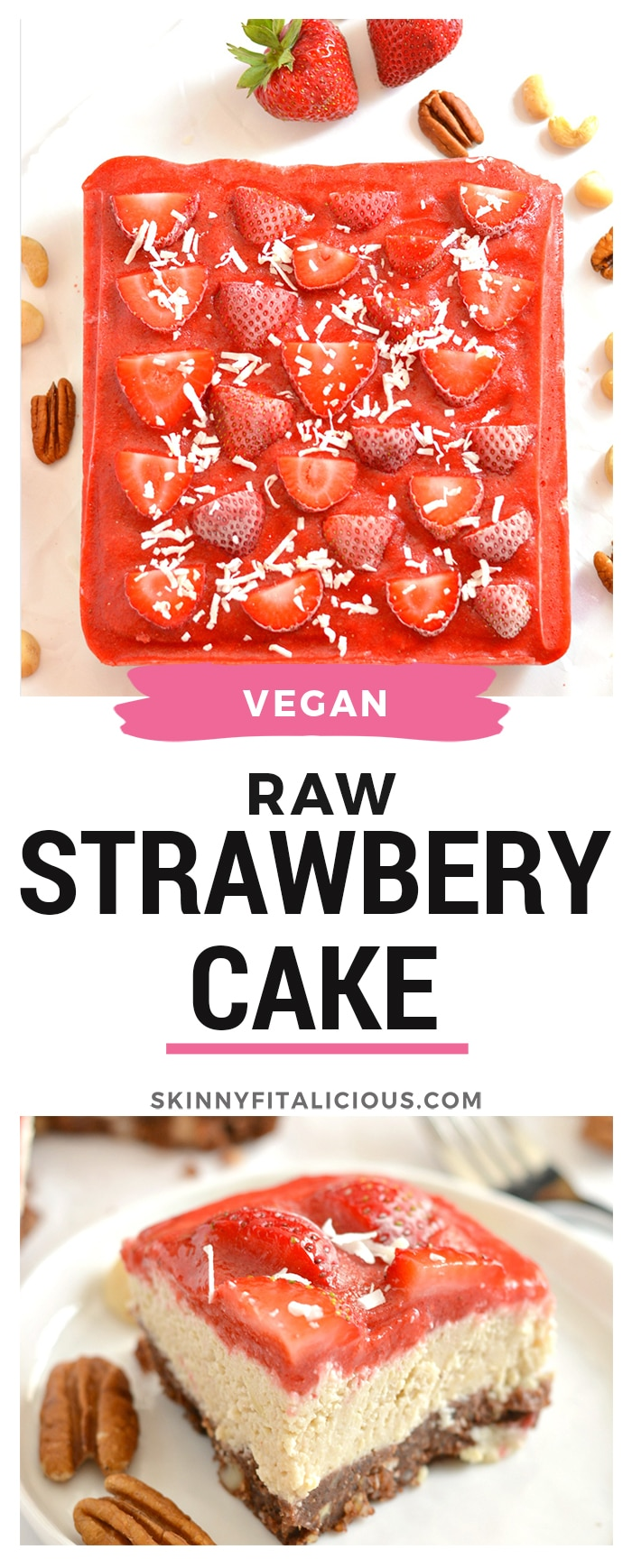 Raw Strawberry Cake is a nutrition powerhouse! Made with a cocoa macadamia pecan crust, creamy cashew filling and topped with a strawberry sauce, this is a dessert you cannot resist. Vegan, Paleo, gluten free, grain free & dairy free!