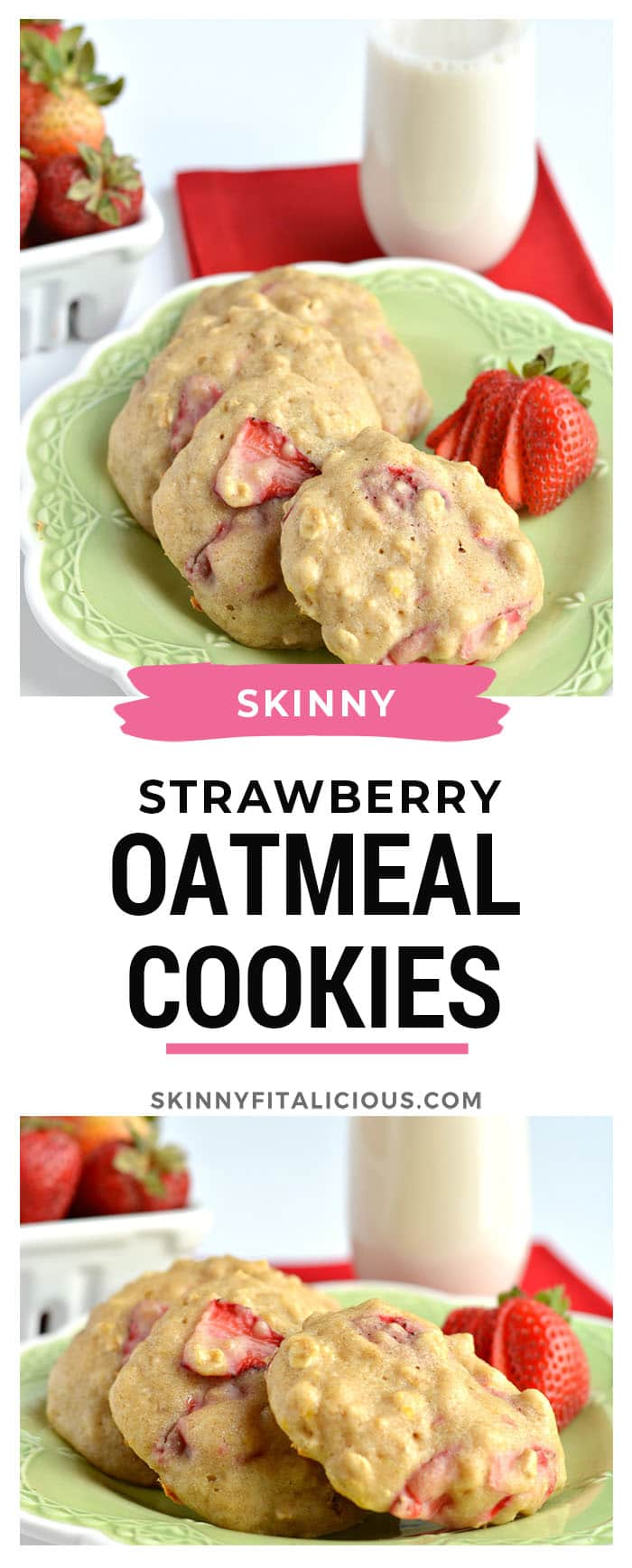 Healthy Strawberry Oatmeal Cookies! Chewy and creamy cookies filled with Greek yogurt,lemon, applesauce and fresh strawberries. A tasty breakfast or anytime snack under 100 calories! Gluten Free + Low Calorie
