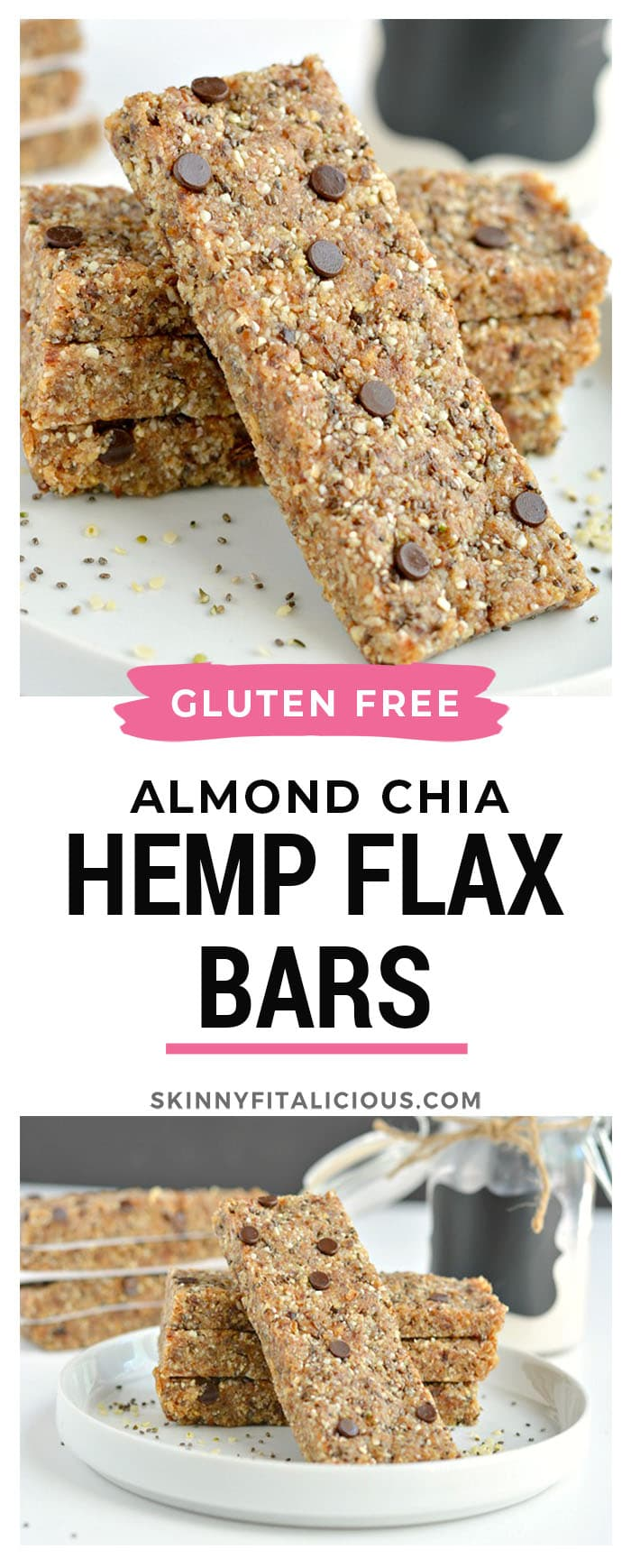 Almond Chia Hemp Flax Bars are no bake superfood granola bars made with oats, dates, almonds, chia, hemp, flax, a touch of chocolate and no added sugar. A naturally sweet and salty snackbar no one canresist! Gluten Free + Low Calorie + Vegan