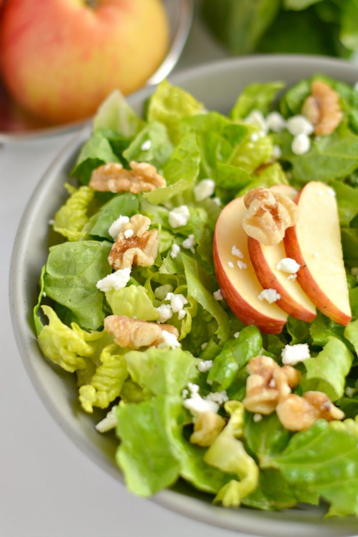 Balsamic Apple Walnut Salad made with crunchy walnuts, sweet apples & dressed in tart balsamic. A simple low calorie meal or side that's filling & bursting with flavor!