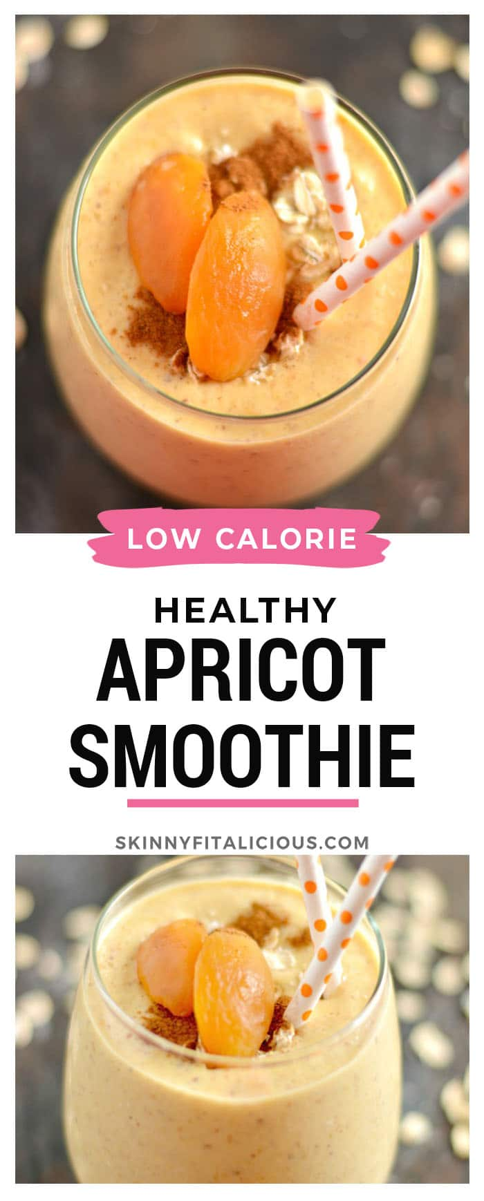 This Cinnamon Oat Apricot Smoothie isthick, creamy & bursting with sweet cinnamon flavors. This smoothie is guaranteed to keep you satisfied for hours.An easy gluten-free breakfast or snack. Gluten Free + Low Calorie