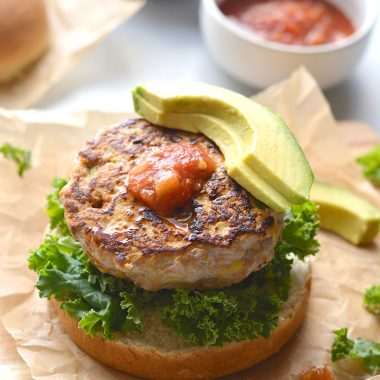 Low Carb Chicken Guacamole Burgers! Stuffed with avocado and salsa, these easy burgers are juicy, tender and bursting with flavor.
