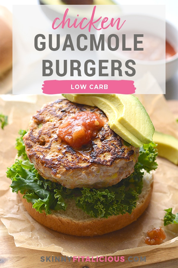 Low Carb Chicken Guacamole Burgers! Stuffed with avocado and salsa, these easy burgers are juicy, tender and bursting with flavor. Take your traditional burgers up a notch with this EASY, healthy recipe. Low Carb + Paleo + Gluten Free + Low Calorie