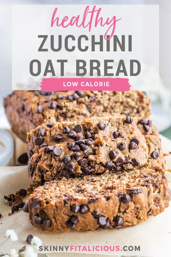 Healthy Chocolate Zucchini Bread made low calorie with no added sugar or oil. A lighter and healthier zucchini bread that's gluten free, dairy free, moist, creamy and delicious!