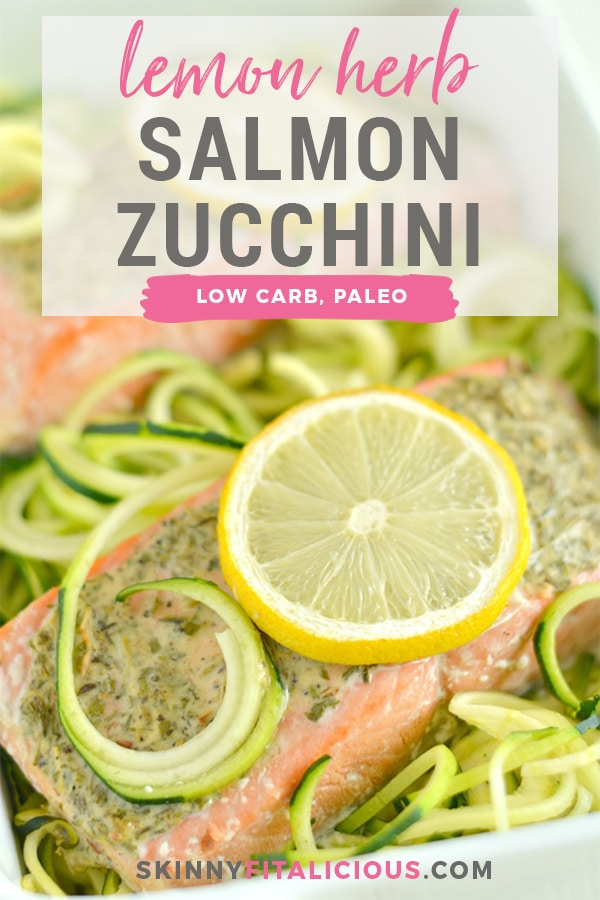 Lemon Herb Salmon Zucchini is a quick one pan meal packed with protein and tons of flavor. A 30-minute weeknight dinner that's low carb, low calorie, gluten free, dairy free and Paleo!