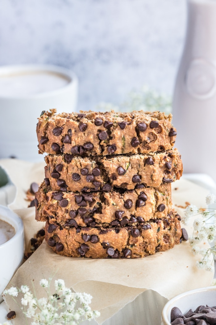 Healthy ChocolateZucchini Bread made low calorie with no added sugar or oil. A lighter and healthier zucchini bread that's gluten free, dairy free, moist, creamy and delicious!