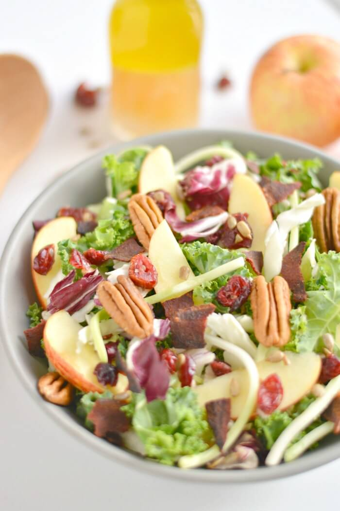 This Apple Bacon Pecan Salad with homemade apple cider vinegar dressing is loaded with fall flavors! A healthy salad that's perfectly sweet & salty. Gluten Free + Low Calorie + Paleo