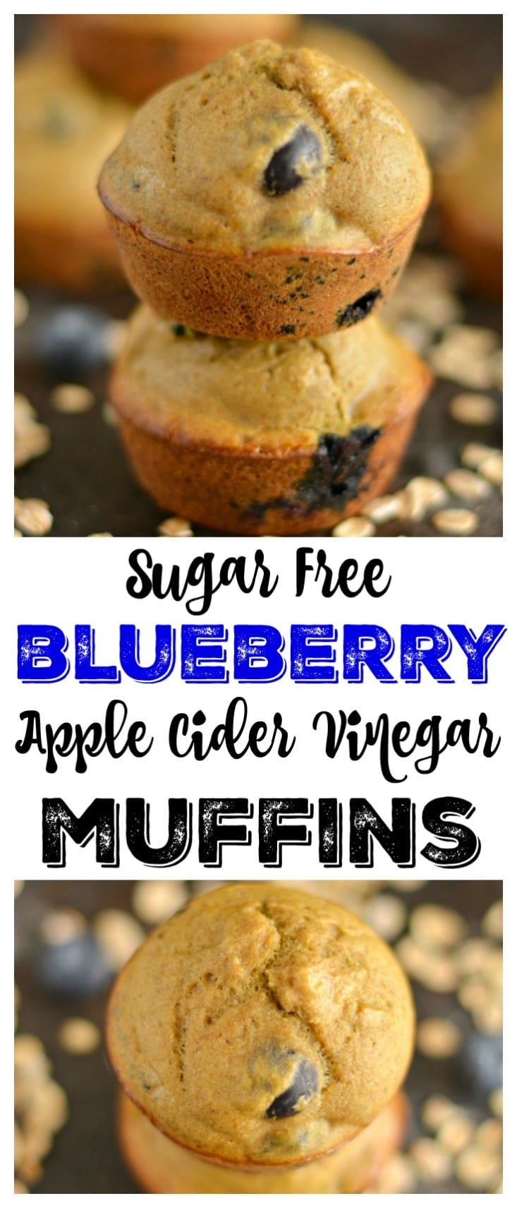 Sugar free Blueberry Apple Cider Vinegar Muffins made gluten free with just 6-ingredients. A hearty yet, soft & moist low caloriebreakfast or snack! Gluten Free + Low Calorie