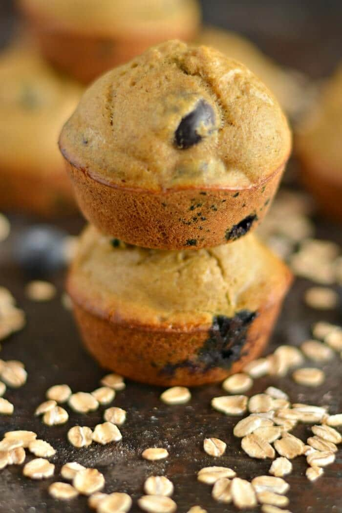 Sugar free Blueberry Apple Cider Vinegar Muffins made gluten free with just 6-ingredients. A hearty yet, soft & moist low calorie breakfast or snack!