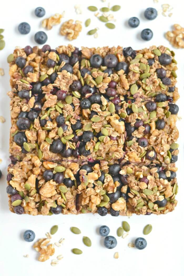 Take your granola bars up a notch with a chewy, oven-baked these Blueberry Protein Walnut Breakfast Bars packed nutrients & antioxidants! Made with a protein-walnut-oat base and topped with a blueberry, walnut & oat crumble this breakfast has everything & more! Gluten Free + Vegan + Low Calorie