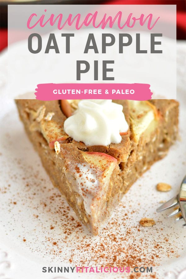This Healthy Cinnamon Oat Apple Pie is a fast & easy puffedskillet pie made with freshly sliced apples & gluten free oats. The perfect no fuss breakfast or dessert! Gluten Free + Dairy Free + Low Calorie + Low Fat.