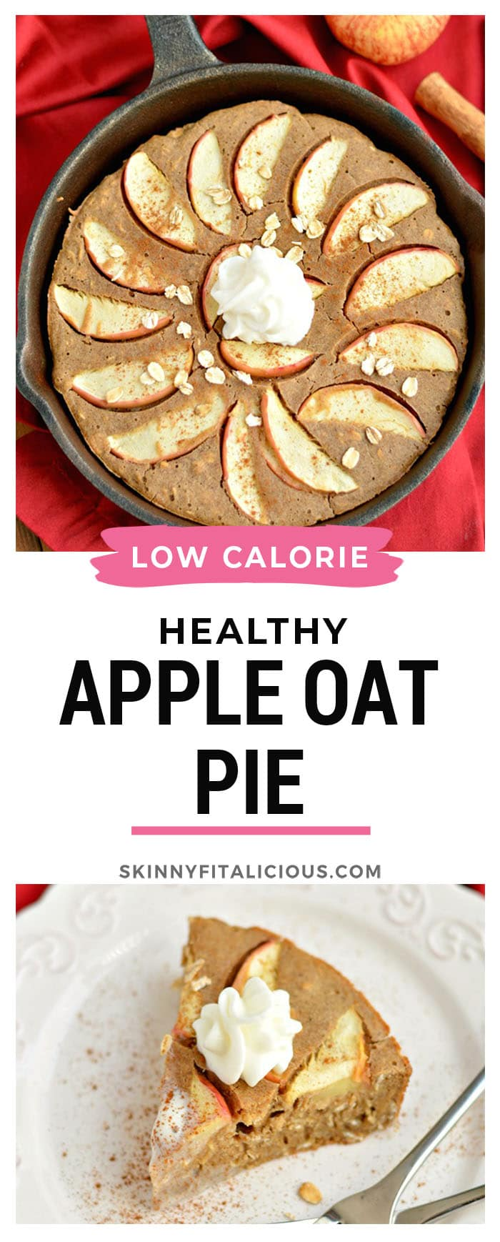 This Healthy Cinnamon Oat Apple Pie is a fast and easy puffedskillet pie made with freshly sliced apples and gluten free oats. The perfect no fuss breakfast or dessert! Gluten Free + Dairy Free + Low Calorie