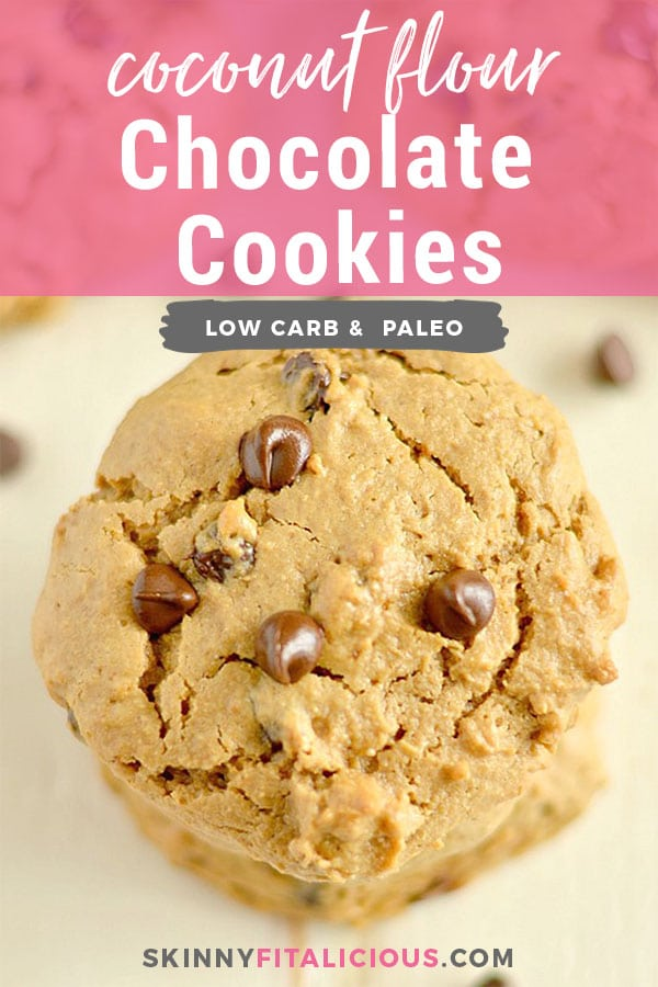 OMG Good Low Carb Chocolate Chip Cookies! Creamy, insanely buttery, thick, rich cookies bursting with rich chocolatey goodness! Hearty low carb cookies so good you may have to hide them. Gluten Free + Low Calorie + Paleo