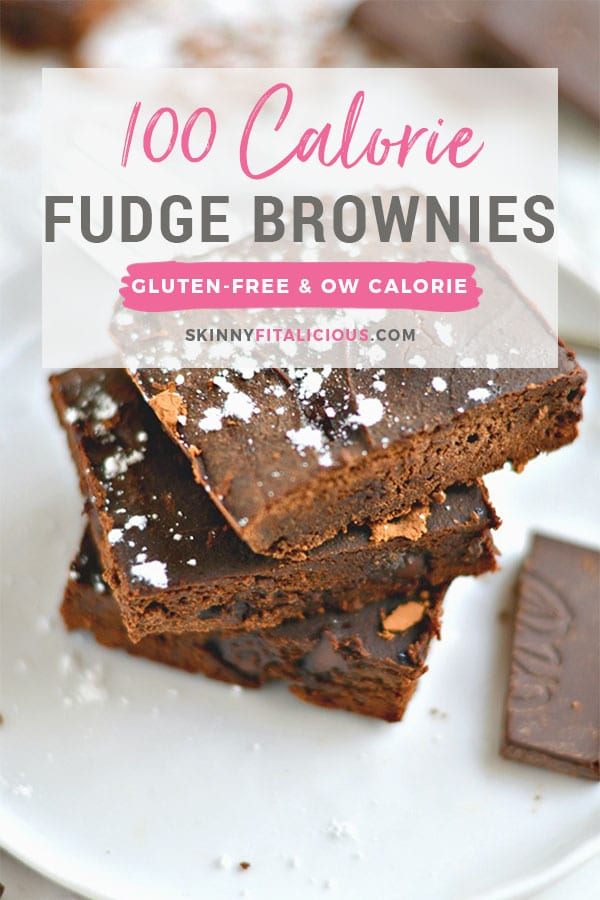 Silky 100 Calorie Fudge Brownies made healthy with rich dark chocolate and no added sugar or refined oil. The perfect chocolatey treat to satisfy a sweet tooth! Low Calorie + Gluten Free recipe!