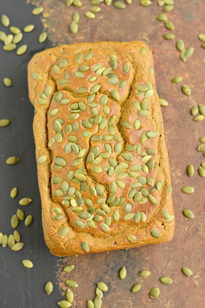 Wholesome & healthy Sugar Free Pumpkin Bread! A moist & flavorful bread that's thick & hearty. Perfect for breakfast, sandwiches, or an anytime snack. Gluten Free + Low Calorie + Paleo