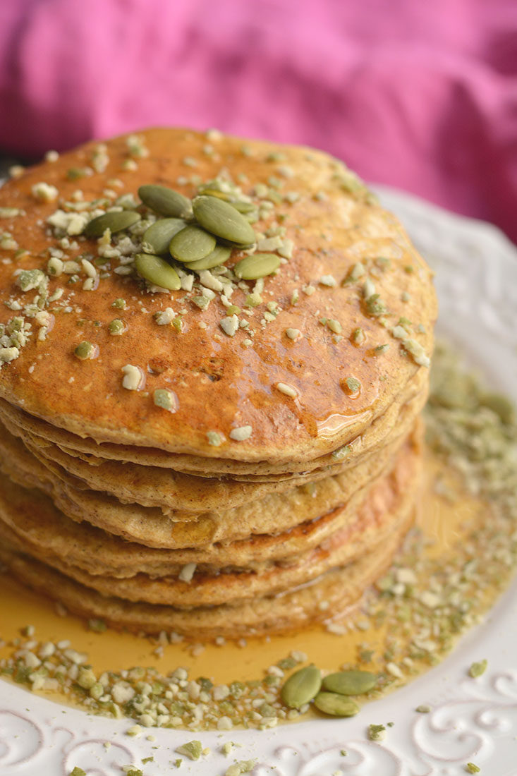 Fluffy Pumpkin Protein Pancakes made with cottage cheese and fall inspired flavors, make a high protein breakfast. A healthy way to start your day!Low Calorie + Gluten Free